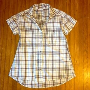 James Perse window pane button up shirt